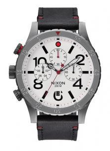 Nixon 48-20 Chrono Leather Gunmetal/White A363 486 Uhren