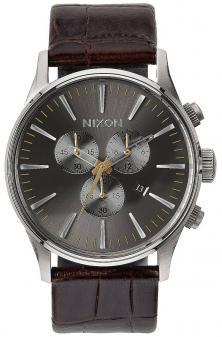 Nixon Sentry Chrono Leather Brown Gator A405 1887 Uhren