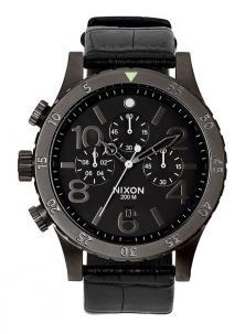 NIxon 48-20 Chrono Leather Black Gator A363 1886 Uhren